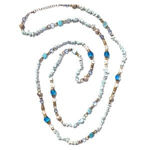 Blue Shell Extra Long Necklace